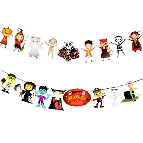 FineInno 2Pack Halloween deko Bunting Banner Dekoration Flagge Wimpelkette hängend Papier Girlande Kürbis Wizard Vampir Hexe Totenkopf und Fledermaus (Stil 3)