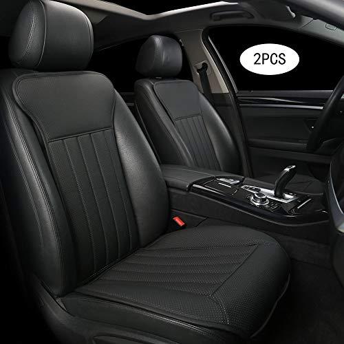 BLACK PANTHER Sitzauflage Auto, Autositzbezüge Vordersitze Vier Jahreszeit Universal Anti-Rutsch Sitzauflagen Auto Fahrersitz mit Rückenlehne(2PC,Schwarz)