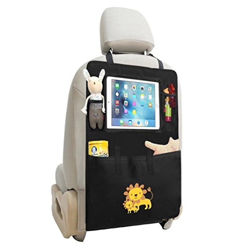 Organizador del asiento de coche / Protector de asiento trasero / Kick Mat con Pantallas táctiles para iPad para niños y viaje en coche, Uso múltiple como Anti Kicking Mat & Protector de asiento automático (león)