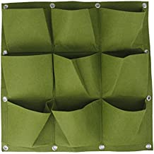 9 Bolsillos Bolsa Vertical Colgante Decoración Jardín de Hierbas Planta Pared Interior / Exterior Verde