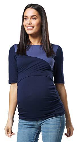 HAPPY MAMA Femme Maternité Allaitement Maternel Imprimé Chemise- Ras Cou 146p (Marine avec BlJeans, 44, 2XL)