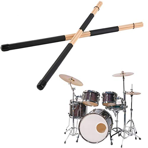 Zinniaya 1 Pair 40cm Wooden Rods Rute Jazz Drum Sticks Brushes Drumsticks Light Weight Portable Drum Rod With Rubber Handle