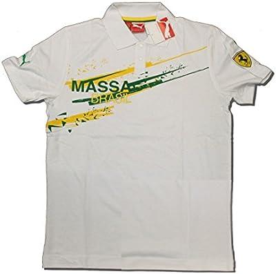 Ferrari F1equipo Felipe Massa Puma Brasil Blanco-Polo de manga corta para hombre