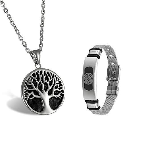 e mit Lebensbaum Anhänger Verstellbar Armband Set Edelstahl Silber & Schwarz ()