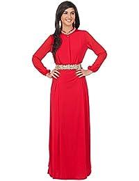 KOH KOH® Damen Langarm Empire Maxikleid Spitze Taille Elegante Abend Cocktail Dress
