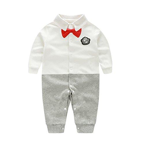 Fairy Baby Baby Erstausstattung Kleidung Langarm Body Junge Strampler Winter Outfit Einteiler, Weiß Ehrenmann, 0-3 Monate
