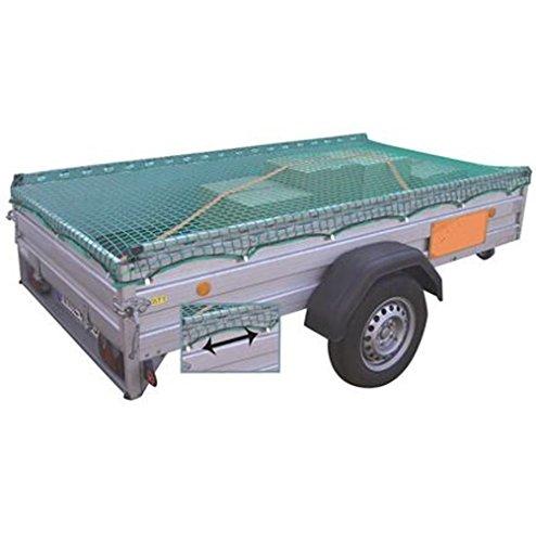 Anhänger-Schutznetz Anhängernetz Anhänger Gepäcknetz zur Ladungssicherung 40mm mit elastischem Spannseil (S - 220x150cm)