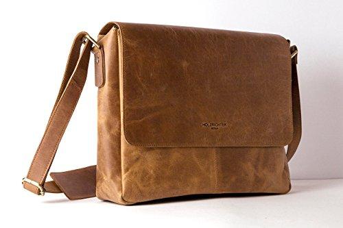 HOLZRICHTER Berlin Umhängetasche (S) aus Leder. Kleine Messenger Tasche und Laptop Tasche. Hochwertige Ledertasche als Bürotasche oder Unitasche in dunkelbraun Camel
