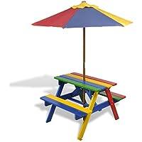 Mesa y bancos de comida campestre para niños con sombrilla en cuatro colores