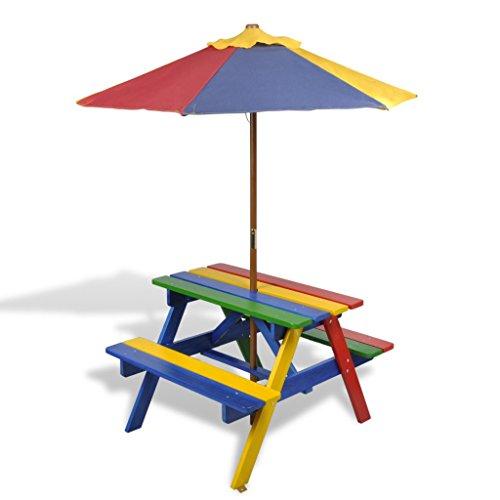 Festnight Set de Mesa y Bancos de Comida Campestre para Niños Con Parasol