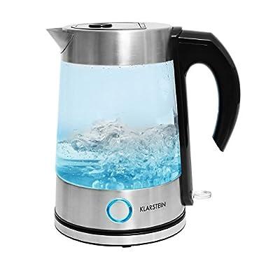 Klarstein Pure Water Bouilloire électrique sans fil transparente (design en verre, 1,7L, 2200W, effets LED, encombrement minimal, couvercle sécurisé) - bleu