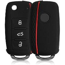 kwmobile Funda de silicona para llave de 3 botones para coche VW Skoda Seat - cover de llave - key case en negro rojo