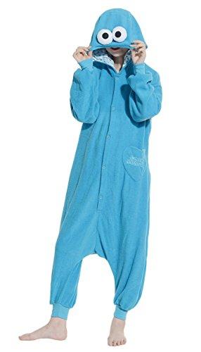 Fandecie Pigiama/costume onesie da adulti, tema: Sesame Street Blu, unisex, ideale per Halloween/cosplay/dormire/, per altezze da 160 a 175 cm - Medium