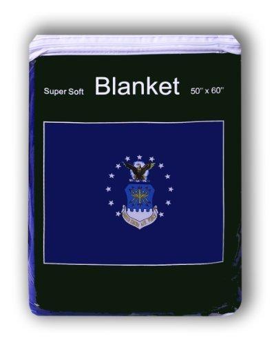 Air Force Flag Fleece Blanket 5ft X 4.2FT. Throw Cover Bedding USAF Armed Forces Logo Emblem by Super Soft -
