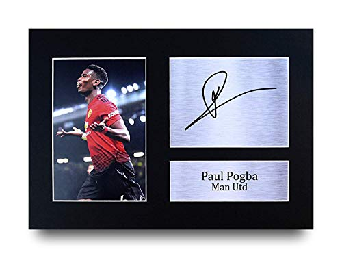 Paul Pogba I Regali Firmarono A4 Stamparono Autografo Manchester United Man Utd Stampi Mostra di Ritratto di Fotografia