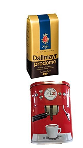 Dallmayr Prodomo ganze Bohnen 500g + Kaffeedose neu 3 D Design rot