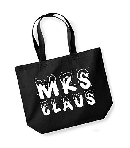 Mrs Claus - Large Canvas Fun Slogan Tote Bag Black/White