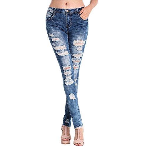 Uomogo® donne sportiva stretch slim fit strappati matita scarni pantaloni a vita alta jeans skinny stirata pantaloni (asia l, blu)
