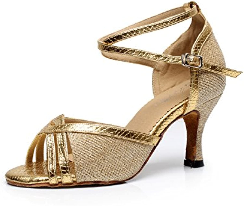JSHOE Damen Tanzschuhe Latin Salsa / Tango / Tee / Samba / Modern / Jazz Schuhe Sandalen High HeelsGold-heeled7.5cm-UK4ö