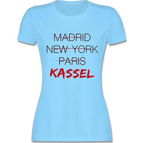 Städte - Weltstadt Kassel - tailliertes Premium T-Shirt mit Rundhalsausschnitt für Damen Hellblau