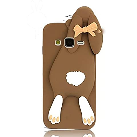 Sunroyal 3D Fashion Case Cute Funny Süße Silikon Schutzhülle Buck Teeth Bunny Rabbit Soft Weichem Handy Tasche für Samsung Galaxy J5 SM-J500F TD-LTE,FDD-LTE,4G, 3G,5 Zoll Karikatur Cartoon Zubehör Set Handyhülle Etui Skin Shell Zurück Rückseite, Brown
