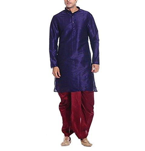 Kurta Royal Men's Blue Silk Blend Festive Dhoti Set - Dhoti Kurta