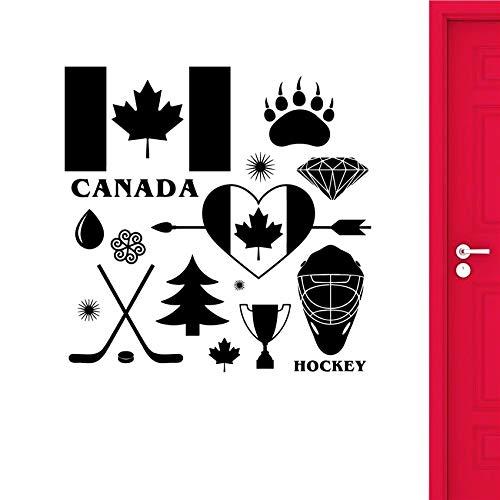 BailongXiao Wandtattoos Hockey Symbol Logo Aufkleber Wanddekoration Kunst Dekoration Abnehmbare Vinyl Kindergarten Kinderzimmer Wandaufkleber 87x87cm
