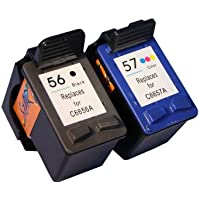 Start - Set de 2 cartuchos de tinta compatibles con HP nº 56 negro y nº 57 color (también con C6656A y C6657A) para las impresoras HP PSC 1205, PSC 1210, PSC 1215, PSC 1315, PSC 1350, PSC 2105, PSC 2110, PSC 2175, PSC 2210, PSC 2410 y PSC 2510 (All-in-One) (no requiere cambio de chip)