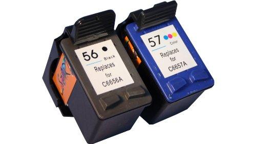 Preisvergleich Produktbild Start - 2 Ersatz Patronen kompatibel zu HP Nr. 56 - black + Nr. 57 - color - auch C6656A + C6657A - passt in die folgenden Drucker: HP PSC 1205 , PSC 1210 , PSC 1215 , PSC 1315 , PSC 1350 , PSC 2105 , PSC 2110 , PSC 2175 , PSC 2210 , PSC 2410 , PSC 2510 (All-in-One). Sofortiges Einsetzen der Tintenpatronen - kein Chipumbau - 100% Füllstandsanzeige - Top Tinte - Qualitäts Ersatzpatronen.