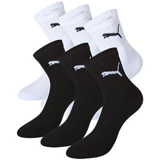 PUMA Unisex Short Crew Socks Socken Sportsocken MIT FROTTEESOHLE 6er Pack, Größe:35-38;Pack:6er Pack/Paar;Farbe:black / white 200/300