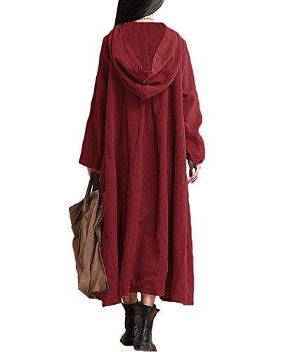 Romacci Damen Weinlese Kleid mit Kapuze Langes Hülsen-beiläufiges Loses Festes Baumwollkleid, Burgund, 3XL