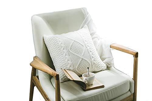 DOKOT Kissenhülle Baumwolle gestrickt Dekorative Kissen Fall Quadrat Kissenbezug 18 x 18 Zoll weichen Kissen Fall Kissen mit unsichtbaren Reißverschluss für Sofa Car Schlafzimmer Wohnzimmer (Weiß)