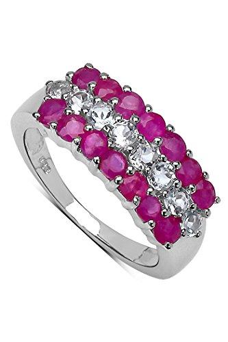Silvancé - Damen Ring - 925 Silber, rhodiniert - echter Edelstein: Rubin ca. 1.7ct. - R1216RWT / Gr. 60 (19.1)