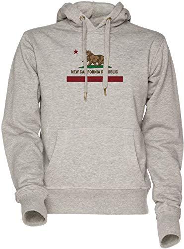 Vendax New California Republic Flag Original Unisex Herren Damen Kapuzenpullover Sweatshirt Grau Men's Women's Hoodie Grey