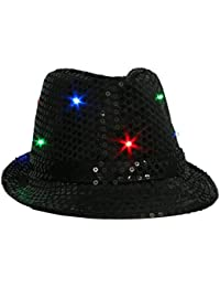 Wuiyepo Sequin chapeau LED Light Jazz Unisex Cap Fancy Dress