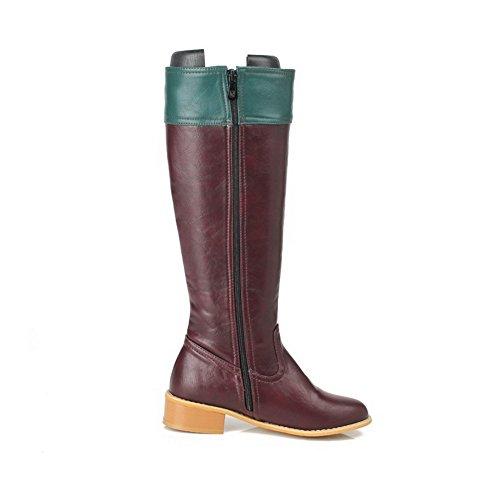 AllhqFashion Damen Rund Zehe Gemischte Farbe Niedriger Absatz Stiefel mit Metallisch, Schwarz, 38