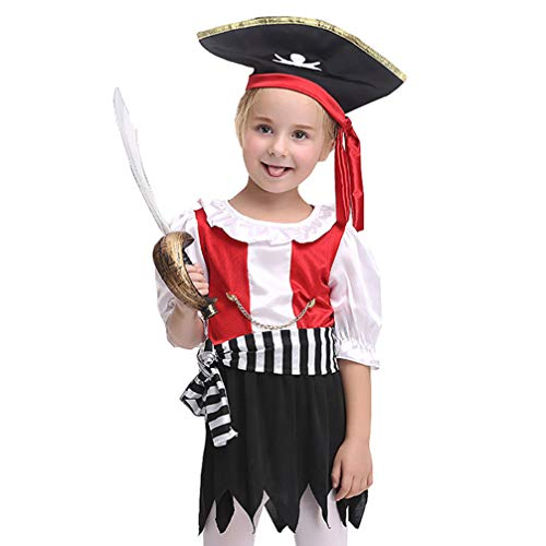 Kostüm Halloween Dance Jazz - Holibanna Mädchen Piratenkostüm Rollenspiel Pirat Jazz Dance Cosplay Halloween Kostüme Hut Kleid Hüftgurt Set für Kinder