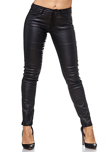 ArizonaShopping - Jeans Damen Treggings Leder Optik Biker Stretch Hose Faux Hüfthose, Farben:Schwarz, Größe Damen:40 / L