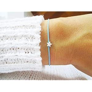 AQUAGEMS Armband mit Stern Sterlingsilber | Geschenk Wunscharmband Sternenkind | Sternchen Hellblau