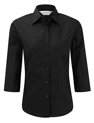 Russell Damen 3/4Sleeve Easy Care Spannbettlaken Shirt Bluse Gr. X-Large, Schokoladenbraun - Baumwolle Popeline Gingham Shirt