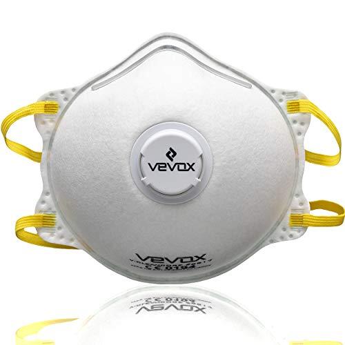 VEVOX® Atemschutzmasken FFP2 im 5er oder 10er Set - Premium Staubschutzmaske mit Filter-Ventil - Individuell Verstellbare Staubmaske FFP2 - Feinstaubmaske - Mundschutz Maske