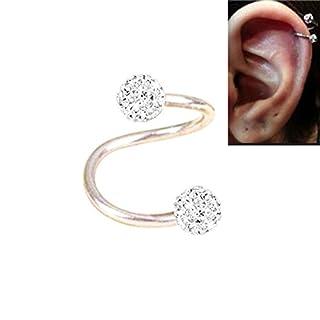 OOOUSE Chirurgischer Stahl Twist Helix Knorpel Kristall Ohrstecker Body Piercing Ohrring 16g von thimmei