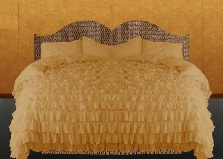 Dreamz simple à volants 500 coton fils/cm²-King-Housse de couette-Or-Euro IKEA à rayures 100%  coton 500 égyptien 75eafa