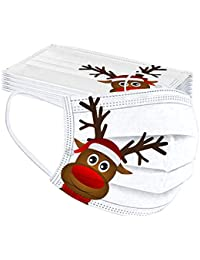 Erwachsene 20 Stücke Einweg Mundschutz Mund Nasenschutz Mit Weihnachten Motive 3 Lagig Atmungsaktive Mund-Tuch Bandana Halstuch Schals für Damen Männer