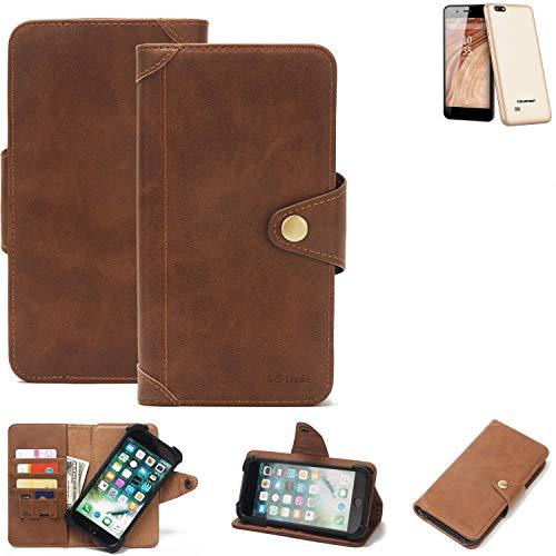 K-S-Trade Handy Hülle für Blaupunkt SL 04 Schutzhülle Walletcase Bookstyle Tasche Handyhülle Schutz Case Handytasche Wallet Flipcase Cover PU Braun (1x)