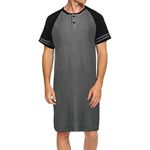 Button-down-raglan-Ärmel (Fcostume Herren Raglan Kurzarm Patchwork Knopf Lange Lose Pyjama T Nachthemd)