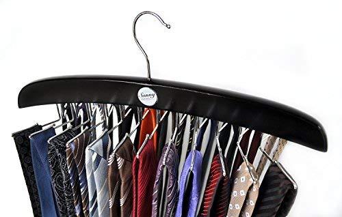 Sunny Sunday Edler Krawattenhalter Aus Holz, Schwarz - Krawattenbügel Gürtelhalter, Aufbewahrung Für Krawatten, Tücher, Schals