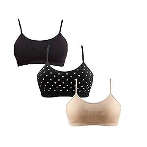 412nQPXdW5L. SS300  - Vertvie Women's Sports Bra Wirefree Seamless Padded Yoga Bra Strap Camisole Short Tank Tops 3 Pack