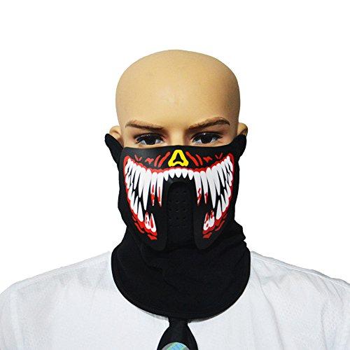 (Sel-More Halloween-Kostüm-Party-Maske, Panel, LED, EL-Maske mit Sound Active für Tanz, Party, Festival, Herren, FM-MA-04)