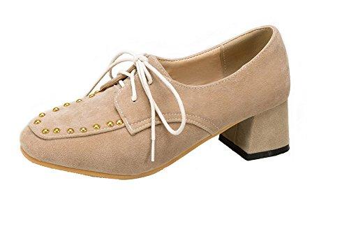 VogueZone009 Femme Dépolissement Carré à Talon Correct Lacet Couleur Unie Chaussures Légeres Beige